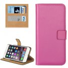 For iPhone 7 Plus Magenta Geniune Leather Case with Holder, Card Slots & Wallet