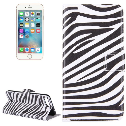 For iPhone 7 Plus Zebra Leather Case with Holder, Card Slots & Wallet