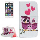 For iPhone 7 Plus Owl Family Leather Case with Holder, Card Slots & Wallet