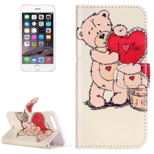 For iPhone 7 Plus Bear Leather Case with Holder, Card Slots & Wallet