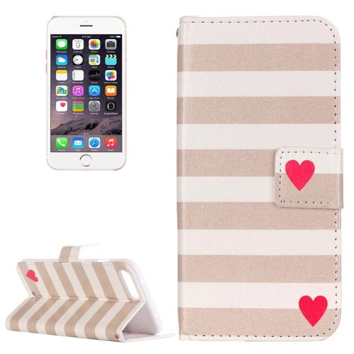 For iPhone 7 Plus Heart Leather Case with Holder, Card Slots & Wallet