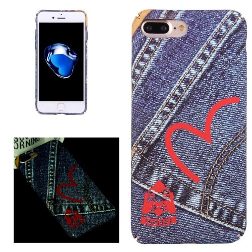 For iPhone 7 Plus Cowboy Heart-shaped Pattern PC Protective Case with Noctilucent