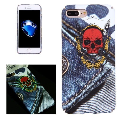 For iPhone 7 Plus Cowboy Skull Pattern PC Protective Case with Noctilucent