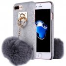For iPhone 7 Plus Plush Cloth Cover PC Grey Case & Furry Ball Chain Pendant