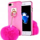 For iPhone 7 Plus Plush Cloth Cover PC Magenta Case & Furry Ball Chain Pendant