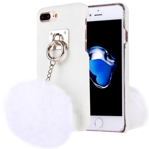 For iPhone 7 Plus Plush Cloth Cover PC White Case & Furry Ball Chain Pendant