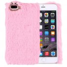 For iPhone 7 Plus Genuine Rabbit Hair Diamond incrusted Pink PC Case