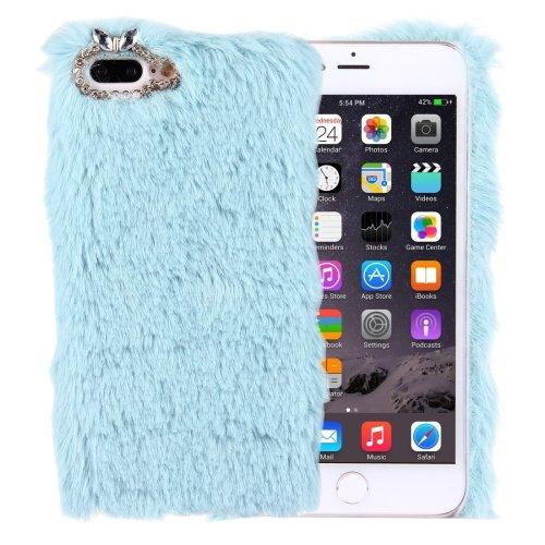 For iPhone 7 Plus Genuine Rabbit Hair Diamond incrusted Blue PC Case