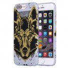 For iPhone 7 Plus Water Decals Cartoon Animal Wolf Pattern PC Case