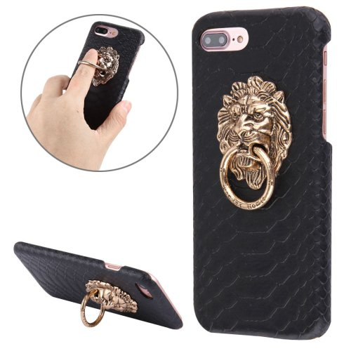 For iPhone 7 Plus Snakeskin Paste Skin PC Black Case with Lion Head Holder