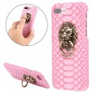 For iPhone 7 Plus Snakeskin Paste Skin PC Pink Case with Lion Head Holder