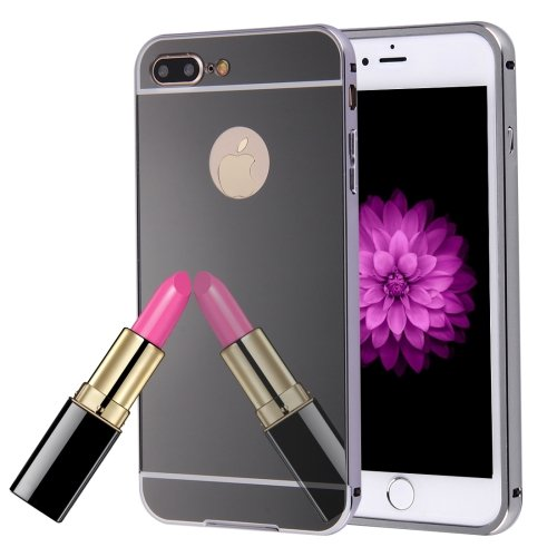 For iPhone 7 Plus Black Separable Electroplating Mirror Push Pull PC Case