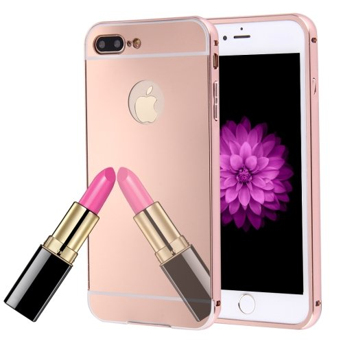 For iPhone 7 Plus Rose Separable Electroplating Mirror Push Pull PC Case