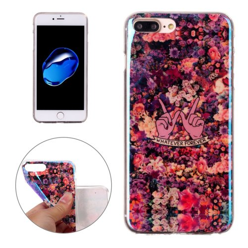 For iPhone 7 Plus Magic Floral Pattern Blue-ray TPU Soft Back Cover Case