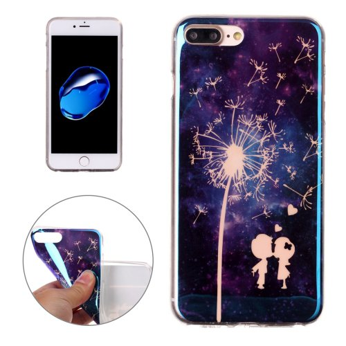 For iPhone 7 Plus Magic Couple Pattern Blue-ray TPU Soft Back Cover Case