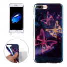 For iPhone 7 Plus Magic Buttterflies Pattern Blue-ray TPU Soft Back Cover Case