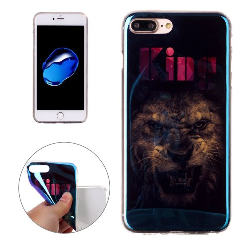 For iPhone 7 Plus Magic Lion Pattern Blue-ray TPU Soft Back Cover Case