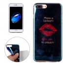 For iPhone 7 Plus Magic Red Lips Pattern Blue-ray TPU Soft Back Cover Case