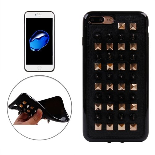 For iPhone 7 Plus Cone Quartet Nail Rivet Style TPU + Metal Soft Case