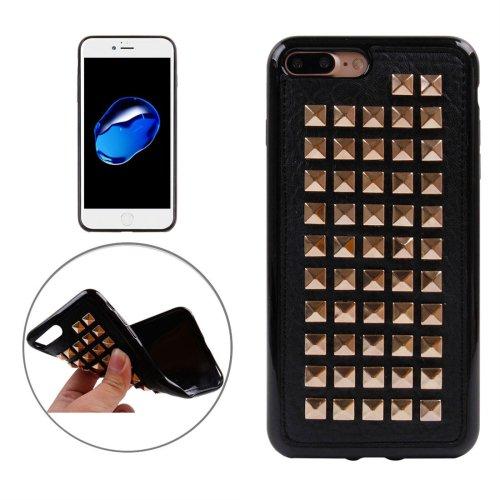 For iPhone 7 Plus Golden Quartet Nail Rivet Style TPU + Metal Soft Case