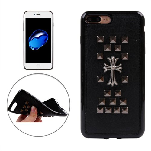 For iPhone 7 Plus Quartet Nail Chrome Hearts Style TPU + Metal Soft Case