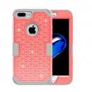 For iPhone 7 Plus Orange Diamond PC + Silicone Combination Case