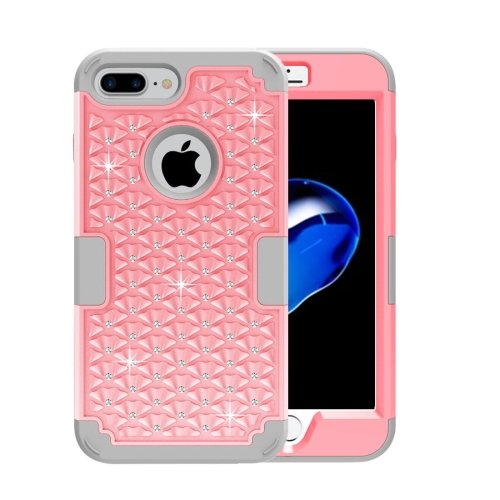 For iPhone 7 Plus Pink Diamond PC + Silicone Combination Case