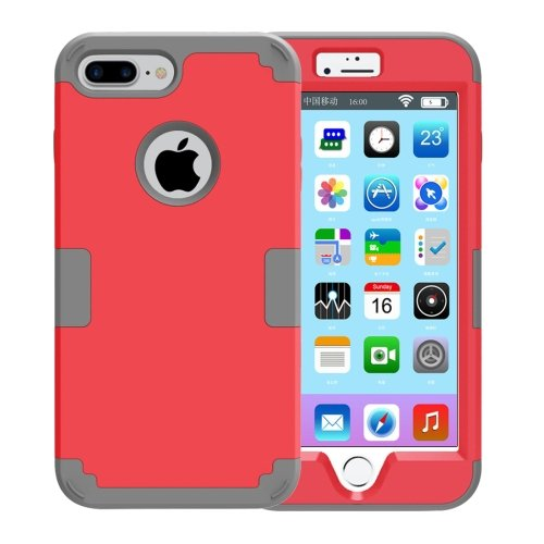 For iPhone 7 Plus Separable Red color PC + Silicone Combination Case