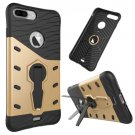 For iPhone 7 Plus Gold Tough Armor TPU+PC Rotating Spin Case with Holder