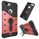 For iPhone 7 Plus Red Tough Armor TPU+PC Rotating Spin Case with Holder