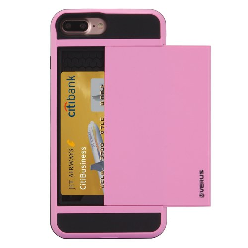 For iPhone 7 Plus Slide Style TPU + PC Combination Pink Case with Card Slot