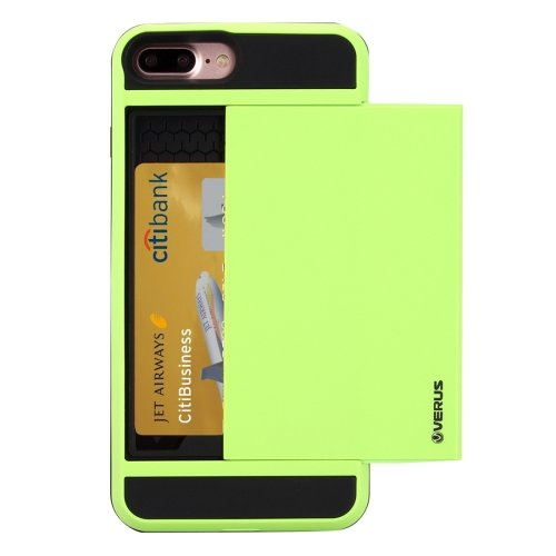 For iPhone 7 Plus Slide Style TPU + PC Combination Green Case with Card Slot
