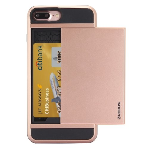 For iPhone 7 Plus Slide Style TPU + PC Combination Rose Case with Card Slot