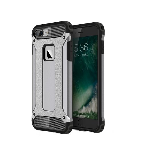 For iPhone 7 Plus Grey Tough Armor TPU + PC Combination Case