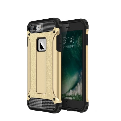 For iPhone 7 Plus Gold Tough Armor TPU + PC Combination Case