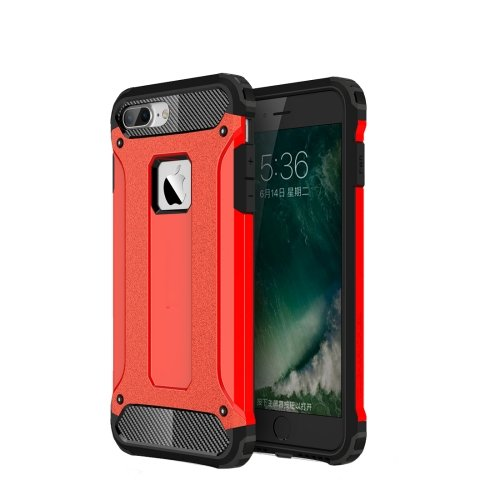 For iPhone 7 Plus Red Tough Armor TPU + PC Combination Case