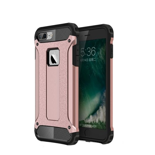 For iPhone 7 Plus Rose Gold Tough Armor TPU + PC Combination Case