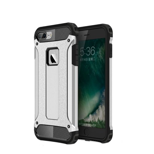 For iPhone 7 Plus Silver Tough Armor TPU + PC Combination Case