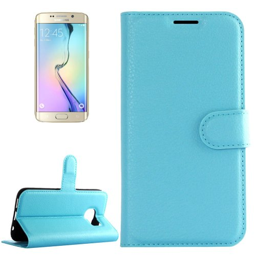For Galaxy S6 Edge Blue Litchi Leather Case with Holder & Card Slots & Wallet