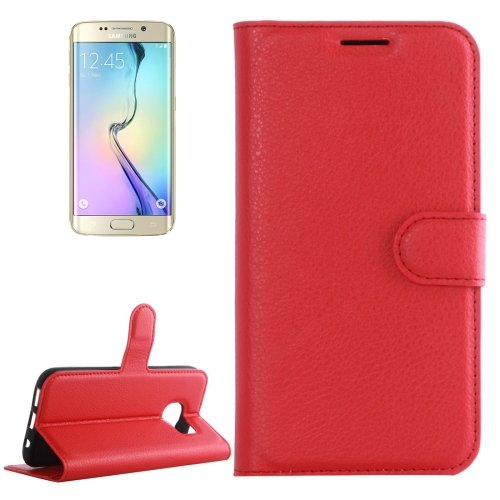 For Galaxy S6 Edge Red Litchi Leather Case with Holder & Card Slots & Wallet