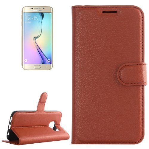 For Galaxy S6 Edge Brown Litchi Leather Case with Holder & Card Slots & Wallet