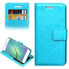 For Galaxy S6 Edge Blue Crazy Horse Case with Holder, Card Slots & Wallet