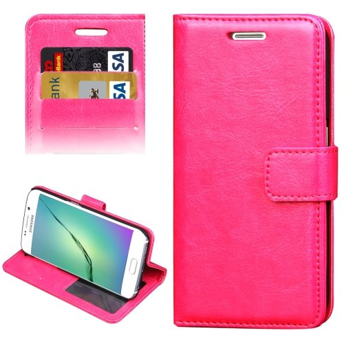 For Galaxy S6 Edge Magenta Crazy Horse Case with Holder, Card Slots & Wallet