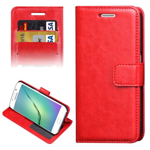 For Galaxy S6 Edge Red Crazy Horse Case with Holder, Card Slots & Wallet