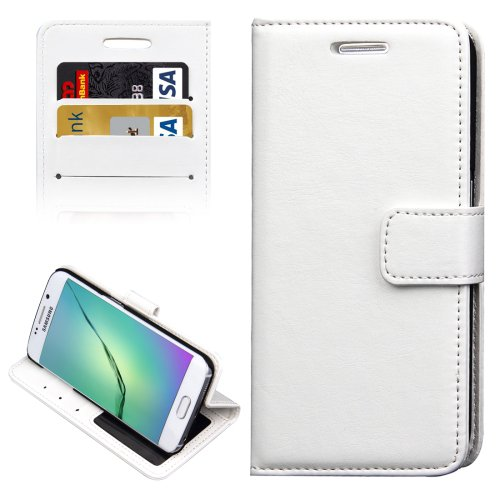 For Galaxy S6 Edge White Crazy Horse Case with Holder, Card Slots & Wallet