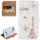 For Galaxy S6 Edge Diamond Pattern D Leather Case with Holder & Card Slots