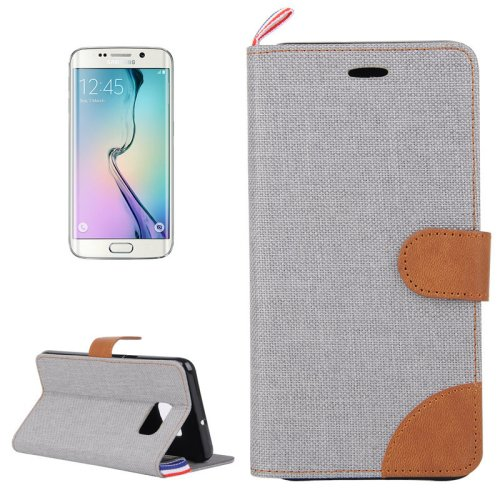 For Galaxy S6 Edge Grey Denim Flip Leather Case with Holder & Card Slots