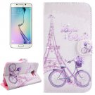 For Galaxy S6 Edge Bicycle Leather Case with Holder, Wallet & Card Slots