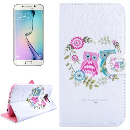 For Galaxy S6 Edge Owl Couples Leather Case with Holder, Wallet & Card Slots