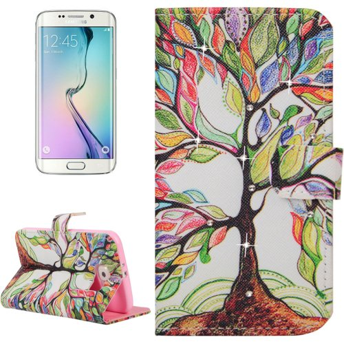 For Galaxy S6 Edge Tree Leather Case with Holder, Wallet & Card Slots